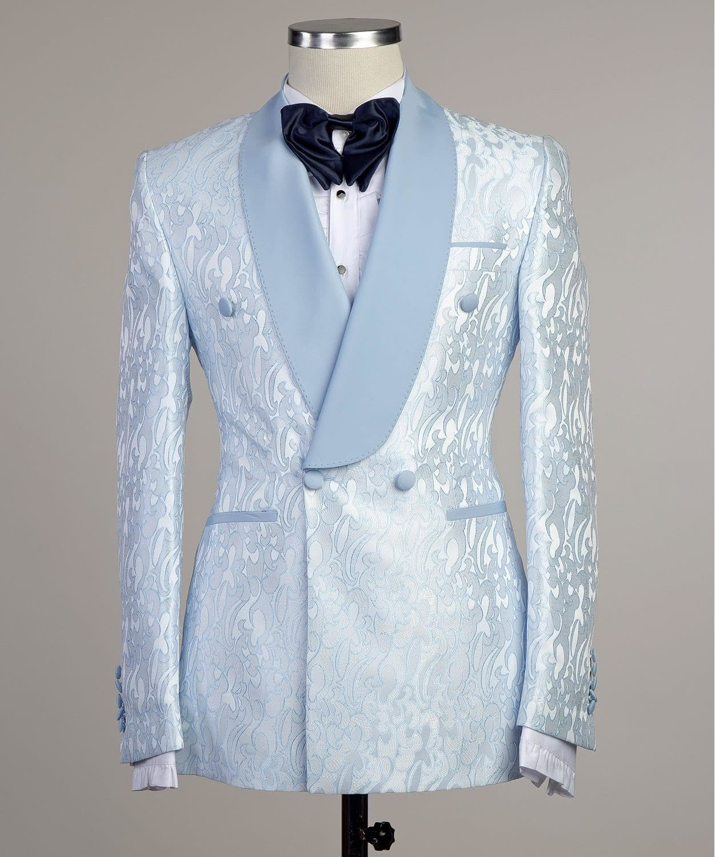 Brocade Slim Fit Blue Tuxedo Jacket Online | Bagtesh Fashion