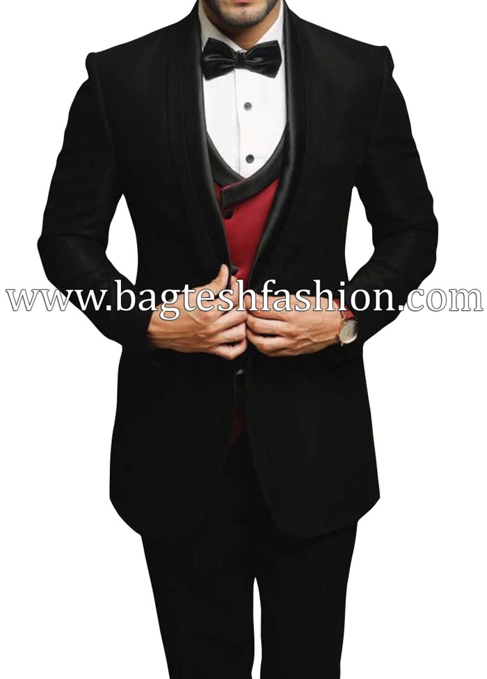 Black Red Mens Partywear Suit Bespoke Men Suits Wedding Tuxedos Evening Suits